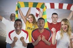 Various football fans Royalty Free Stock Photos