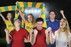 Various football fans Royalty Free Stock Image