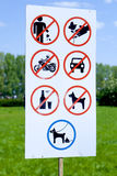 Various forbidden signs Stock Image