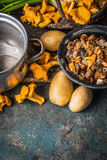 Various forest Mushrooms with potato on rustic kitchen table background, top view, place for text. Seasonal Autumn cooking stock photography