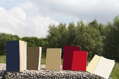 Various formats of books outdoors stock photo
