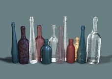 Various forms and colors of glass bottles. A bottle is a container of variable capacity, with a narrower neck of the arm, sometimes equipped with a cap. The vector illustration