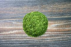 Various forms of parsley. On a wooden background Stock Image