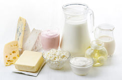 Various fresh dairy products Stock Images