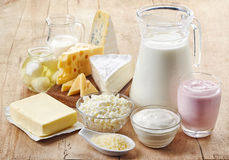 Various fresh dairy products. On wooden background Stock Photo