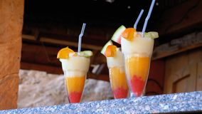 Various Fresh Exotic Cocktails or Juices in Glass with Straw on the Beach Bar. Egypt, Red Sea. stock footage