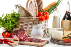 Various fresh foods and vegetables Stock Images