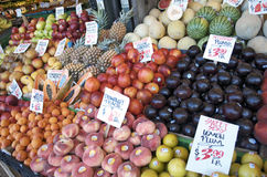 Various Fresh Fruit Displayed At The Market Royalty Free Stock Photography