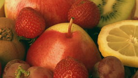 Various fresh fruit. Rotating pile of various fresh fruit, closeup stock video footage