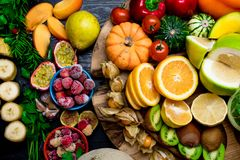 various fresh fruits and vegetables, health concept stock photo