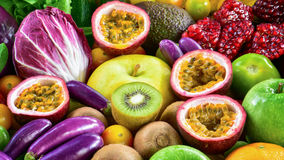 Various fresh fruits and vegetables for healthy Stock Photos