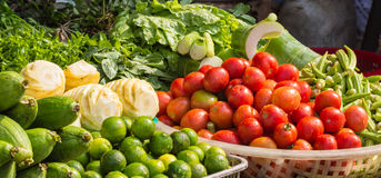 Various fresh  fruits and  vegetables on the market Stock Image