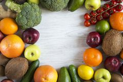 Various fresh fruits and vegetables, top view. Copy space. Flat lay Royalty Free Stock Photography