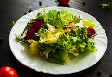 Various fresh mix salad leaves with lettuce, radicchio, and rocket in plate. On dark wooden background Stock Photos