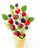 Various fresh organic berries in waffle cone Royalty Free Stock Photography