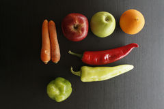 Various fresh organic fruits and vegetables Stock Images