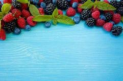 Various fresh summer berries. Ripe blueberries, raspberries and blackberries. Berries on blue background. Top view with copy space Stock Photos