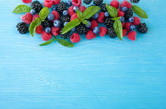 Various fresh summer berries. Ripe blueberries, raspberries and blackberries. Berries on blue background. Top view with copy space Royalty Free Stock Image