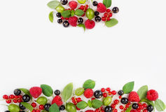 Various fresh summer berries. Ripe raspberries, currants, gooseberries, mint and basil leaves. Berries on white background. Top view Stock Photos