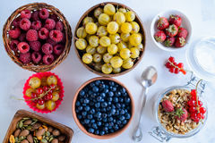 Various fresh summer berries. Top view Royalty Free Stock Images