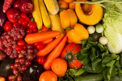 Various fresh vegetable and fruits shot from top view stock image