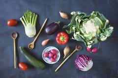 Various fresh vegetables,. Flat lay Stock Photography