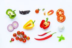 Various fresh vegetables and herbs on white background. Healthy eating concept. Top view stock photos