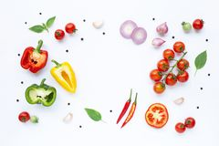 Various fresh vegetables and herbs on white. Background. Healthy eating concept royalty free stock photo
