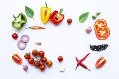 Various fresh vegetables and herbs on white background. Healthy eating concept. Top view royalty free stock photos