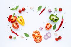 Various fresh vegetables and herbs on white background. Healthy eating concept. Top view stock photo