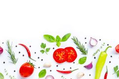 Various fresh vegetables and herbs. On white background. Healthy eating concept royalty free stock photo