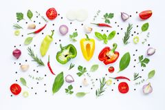Various fresh vegetables and herbs. On white background. Healthy eating concept royalty free stock image