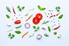 Various fresh vegetables and herbs. On white background. Healthy eating concept stock photography