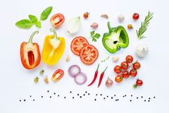Various fresh vegetables and herbs. On white background. Healthy eating concept stock photos