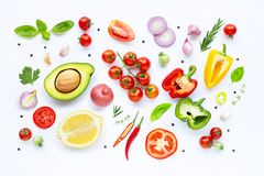 Various fresh vegetables and herbs. On white background. Healthy eating concept royalty free stock images