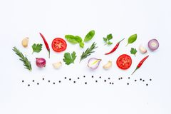 Various fresh vegetables and herbs. On white background. Healthy eating concept stock image