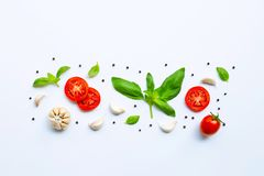 Various fresh vegetables and herbs. On white background. Healthy eating concept royalty free stock photography
