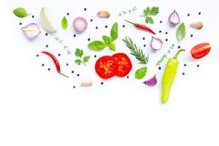 Various fresh vegetables and herbs. On white background. Healthy eating concept royalty free stock photos