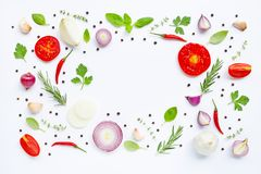 Various fresh vegetables and herbs on white background. Healthy eating concept stock images