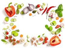 Various fresh vegetables. Isolated on white background, top view royalty free stock image
