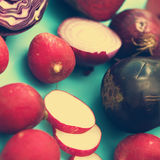 Various fresh vegetables - retro style Stock Images