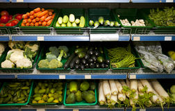 Various fresh vegetables in supermarket Royalty Free Stock Images
