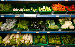 Various fresh vegetables in supermarket Royalty Free Stock Photos