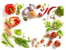 Various fresh vegetables. Isolated on white background, top view stock photo