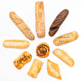 Various freshly baked pastries in sun shape Royalty Free Stock Photography