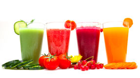 Various Freshly Vegetable Juices. Some various Freshly Vegetable Juices royalty free stock photography