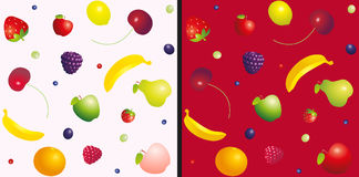 Various fruit and berries seamless colorful pattern on light pink and red background. Vector illustration. Royalty Free Stock Photos