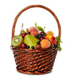 Various fruit in a brown basket Royalty Free Stock Images