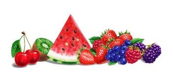 Various fruit composition, at white background. Airbrush illustration. stock illustration