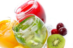 Various fruit juice and tea Stock Image
